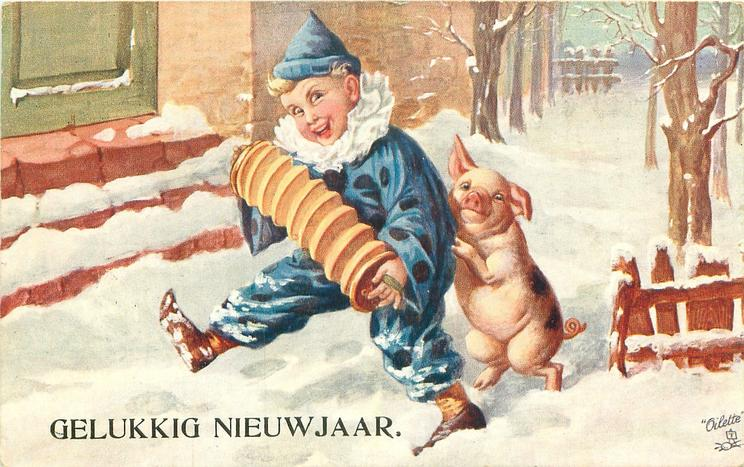 clown walks playing concertina in snow, pig on hind-legs behind