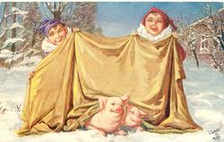 two clowns hold up spread out golden cloth, two pigs below in snow