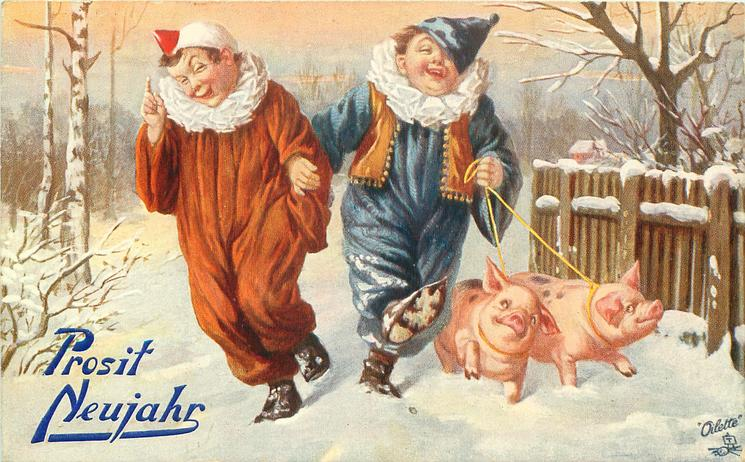 two clowns walk in snow, two pigs on cords