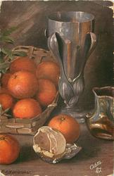eight oranges in basket to left of pewter goblet, two oranges & peel front