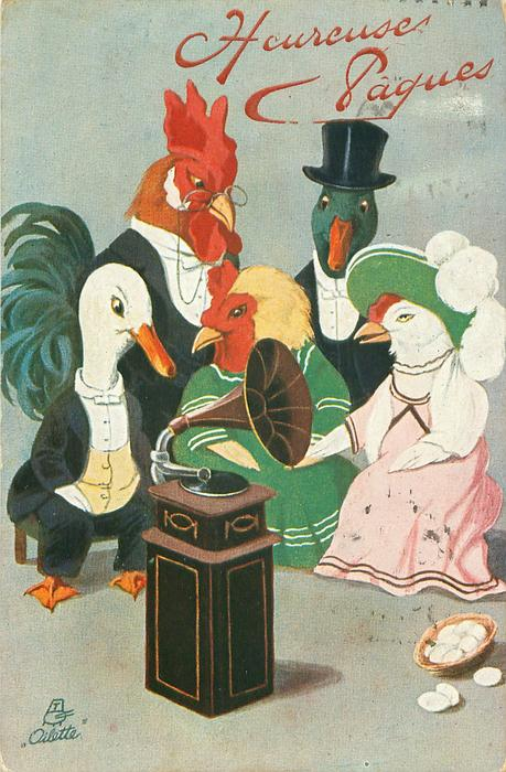 personised dressed poultry sit listening to gramophone, basket of eggs lower right