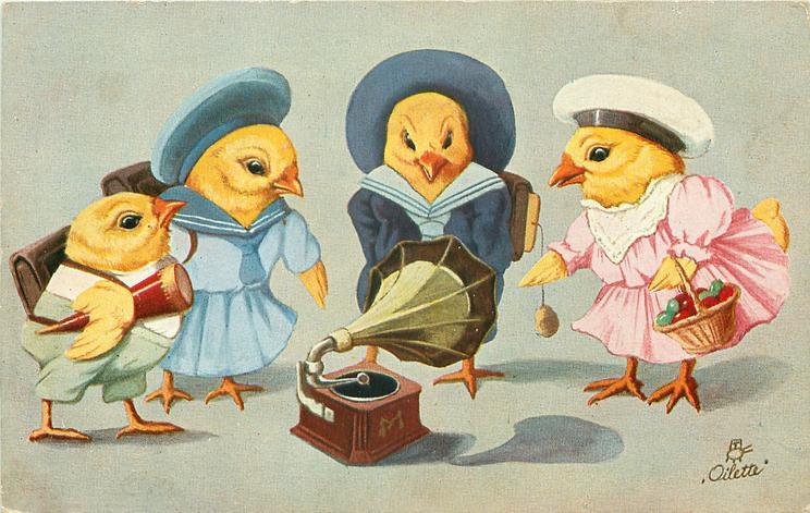 four chicks garbed as schoolchildren stand around gramophone on ground