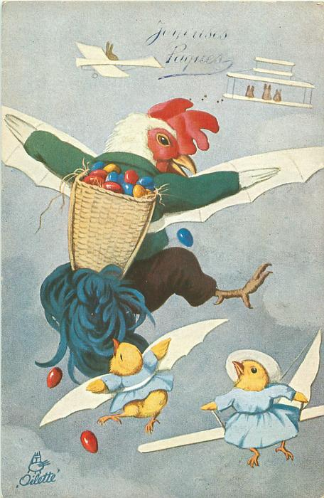 personised dressed cock with easter eggs in basket flies with two chicks, two distant planes