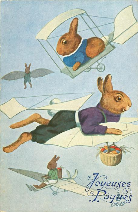 three rabbits fly around another suspended by hook in his shirt, eggs spill