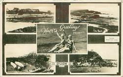 HAPPY GREETINGS FROM BUDE  five insets THE BAY/THE BEACH/ two girls in bathing suits wave/THE BEACH/THE BATHING POOL