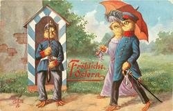 sentry chick salutes officer chick & lady chick who carries red open parasol