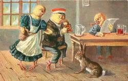 dressed female chick demands money from seated male with empty glass, another seated with newspaper observes, rabbit on floor