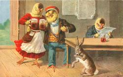 dressed female chick brings two glasses of beer to seated male, another seated reads newspaper, rabbit on floor licks paw