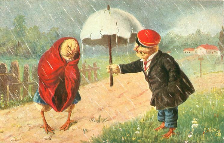 dressed male chick offers shelter under egg-shell umbrella to drunk female dressed in red robe