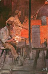 three glassblowers, man in front seated, furnace behind