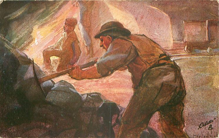 DAS BERGWERK 3.BILD man front works with pick, another kneels behind