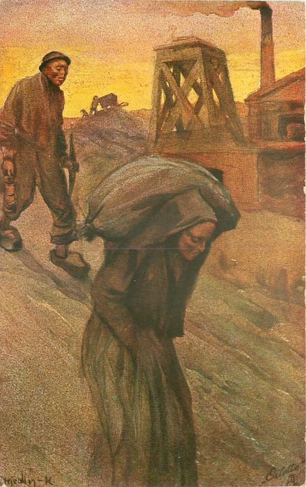DAS BERGWERK 6.BILD  man & woman move down hill, she has sack on shoulders, mine behind