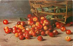 cherries on table in front of basket