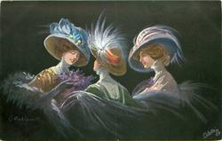 three women in elaborate hats, woman in middle faces to woman at left,  woman at right looks left, black background