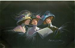 three women in elaborate hats, woman in middle holds newspaper, others read over her shoulder, black background