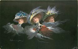 three women in elaborate hats, center woman in red, right hand at breast, black background
