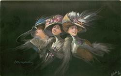 three women in elaborate hats, left woman has fan, right woman holds flower in left hand near chin, black background