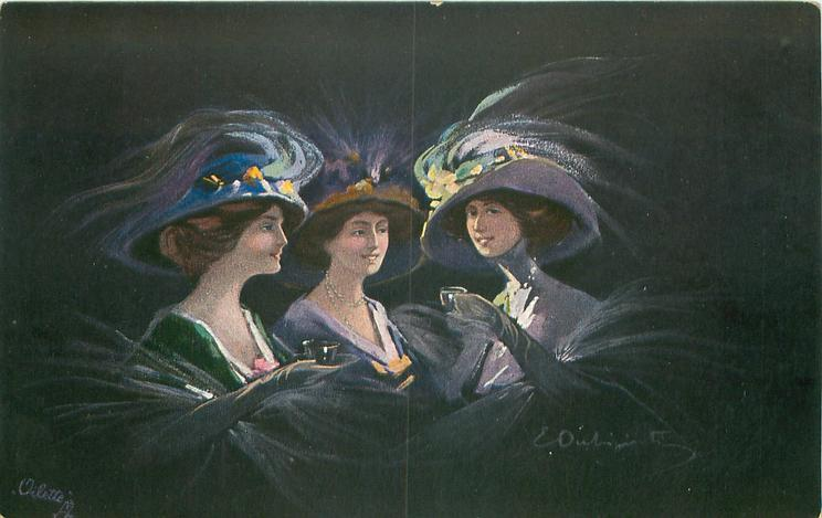 three women in elaborate hats, left woman has tea cup, right woman holds glass in left hand, black background