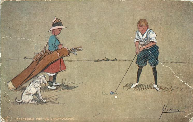 PRACTISING FOR THE CHAMPIONSHIP  young boy golfer watched by small girl acting as caddy, & dog