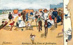 HAVING A JOLLY TIME AT BRIDLINGTON  crowd on the beach, girl  & large lady on donkeys right