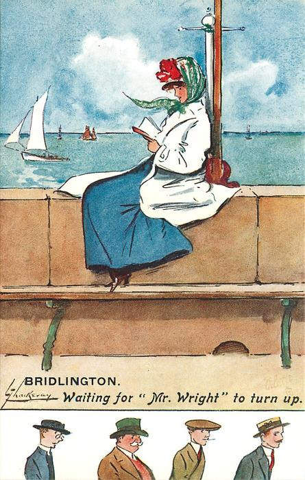 "WAITING FOR ""MR WRIGHT"" TO TURN UP woman reads on promenade, wearing white coat and blue skirt"