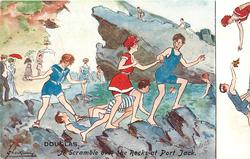 A SCRAMBLE OF THE ROCKS AT PORT JACK   boys & girls in bathing suits clamber over the rocks,