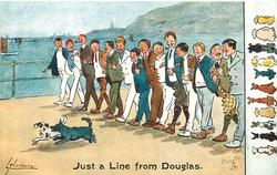 JUST A LINE FROM DOUGLAS  line of fourteen young men move left preceeded by two dogs,