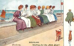 WAITING FOR THE MALE BOAT!   nine pretty girls sit on front, waiting,