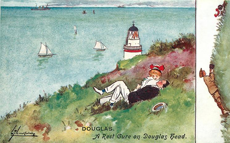 A REST CURE ON DOUGLAS HEAD  couple lie on grassy cliff, lighthouse behind,