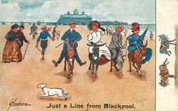 JUST A LINE FROM BLACKPOOL  two couples on donkeys, white dog in foreground runs left out of the way
