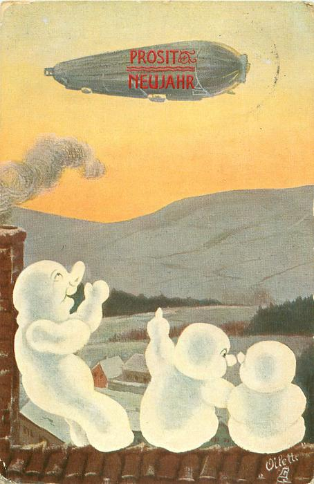 three snowpeople sit on roof pointing to airship above