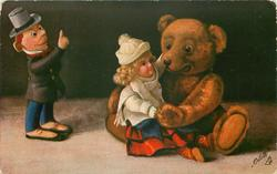 DER ZARTLICHE TEDDY  teddy with girl doll on knee,, dissapproving boy doll raises finger
