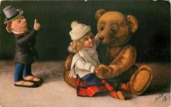 teddy with girl doll on knee, dissapproving boy doll raises finger