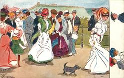 lady in white dress followed by dog leads many people on promenade