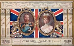 CORONATION SOUVENIR JUNE 22ND 1911 King & Queen in ovals in front of flag, Dominions listed at top
