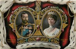 CORONATION SOUVENIR JUNE 22ND 1911 King GV & Q.Mary in ovals inside crown
