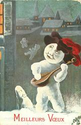 snow entertainer plays mandolin