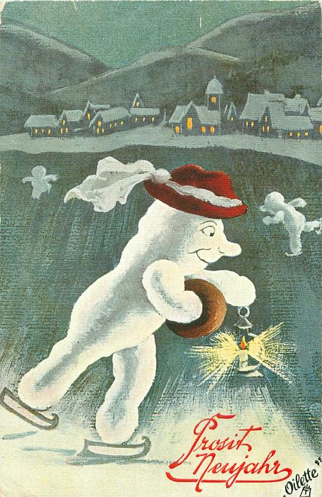 snow person skates right with lamp in right hand, muff on left, village behind