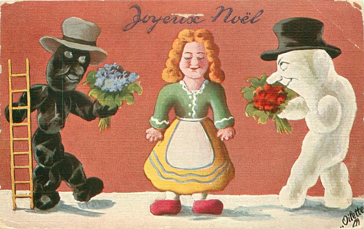 black chimney sweep person & snow person each offer a bouquet to lady doll girl