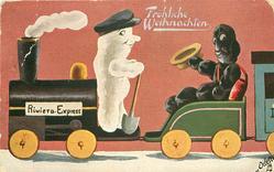 snow person drives RIVIERA EXPRESS, black snow person in coal box