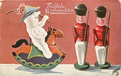 snow person on rocking horse inspects two toy soldier people