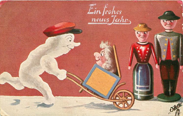 snow person wheels a dollgirl in box, two doll people watch