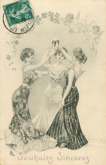 three young women raise their glasses in a toast, angels &  4 leaf clovers above