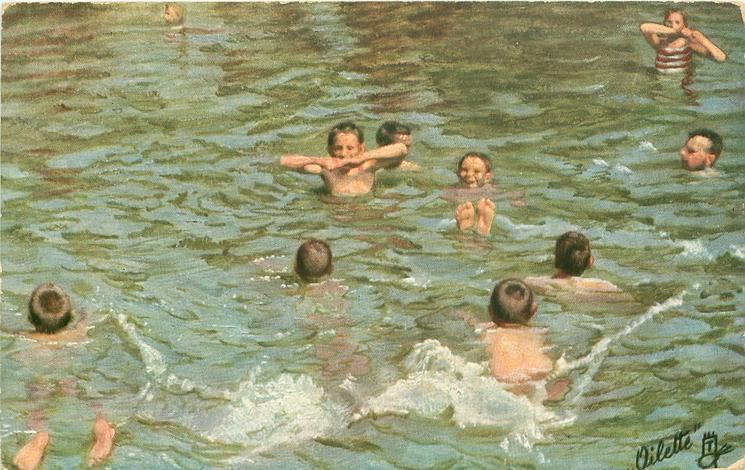 ten people swimming