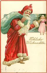 FROLICHE WEINACHTEN, Santa moves right holding doll in outstretched hand