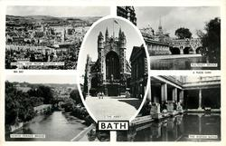 5 insets GENERAL VIEW FROM BEECHEN CLIFF/PULTENEY BRIDGE/THE ABBEY/NORTH PARADE BRIDGE/THE ROMAN BATHS