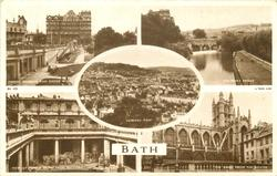 5 insets  PARADE GARDENS AND EMPIRE HOTEL/PULTENEY BRIDGE/GENERAL VIEW/VIEW OF ROMAN BATHS FROM BALCONY/THE ABBEY FROM THE SOUTH