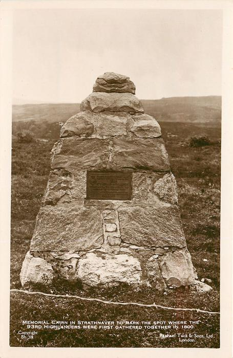 MEMORIAL CAIRN IN STRATHNAVER TO MARK THE SPOT WHERE THE 93RD HIGHLANDERS WERE FIRST GATHERED TOGETHER IN 1800