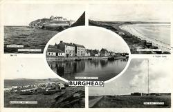 5 insets  HEADLAND AND COASTGUARD STATION/SANDHILLS AND WEST BEACH/HARBOUR REFLECTIONS/BURGHEAD AND HOPEMAN/THE B.B.C. STATION