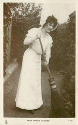 MISS MADGE LESSING  sweeping with birch broom